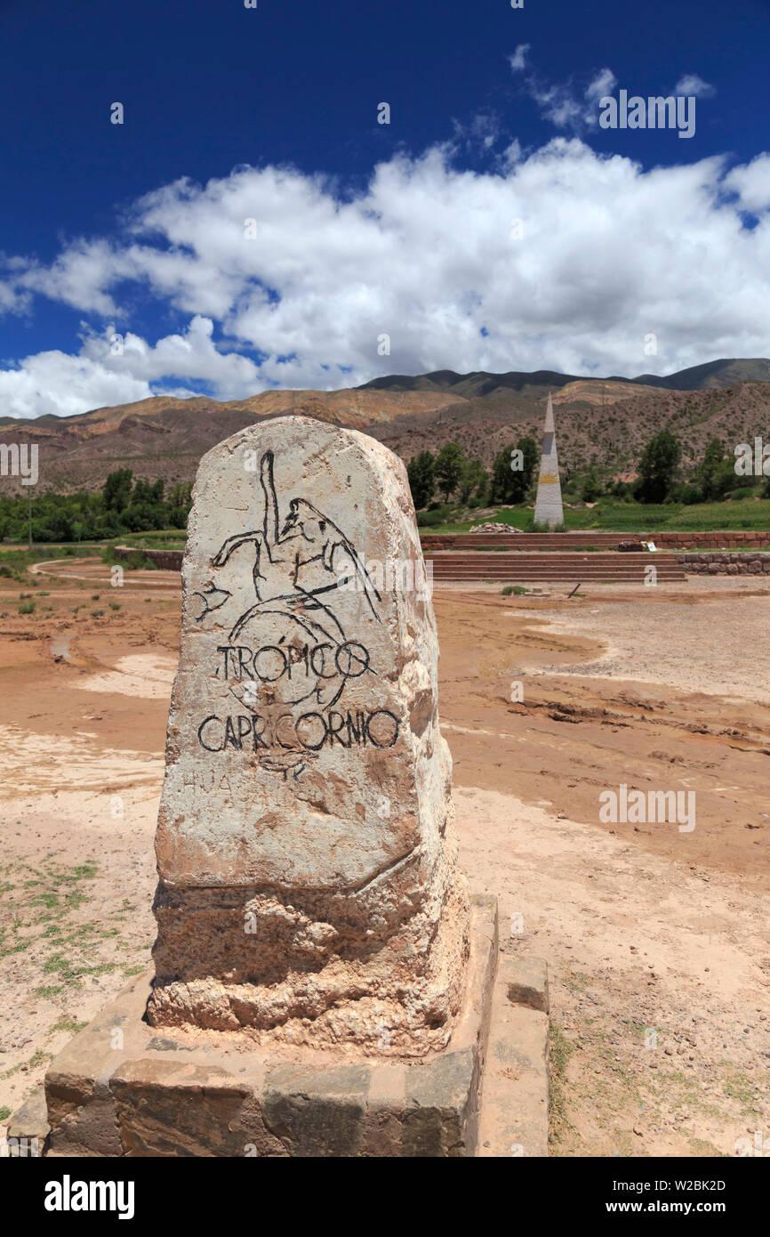 Argentina, Salta, Quebrada de Humahuaca (UNESCO Site), Huacalera, Tropic of the Capricorn marker - Stock Image