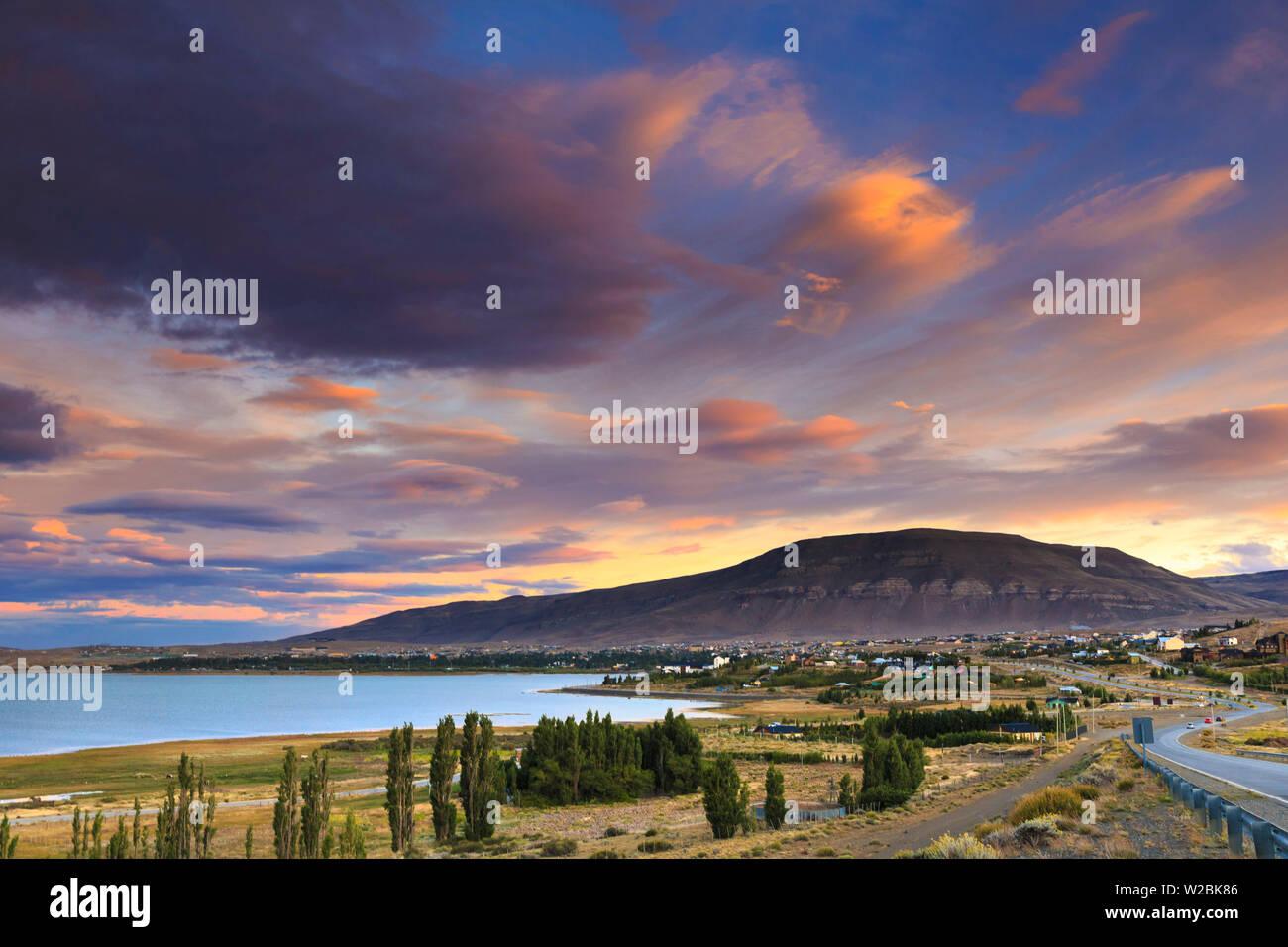 Argentina, Patagonia, El Calafate, Lago Argentino and El Calafate Town - Stock Image