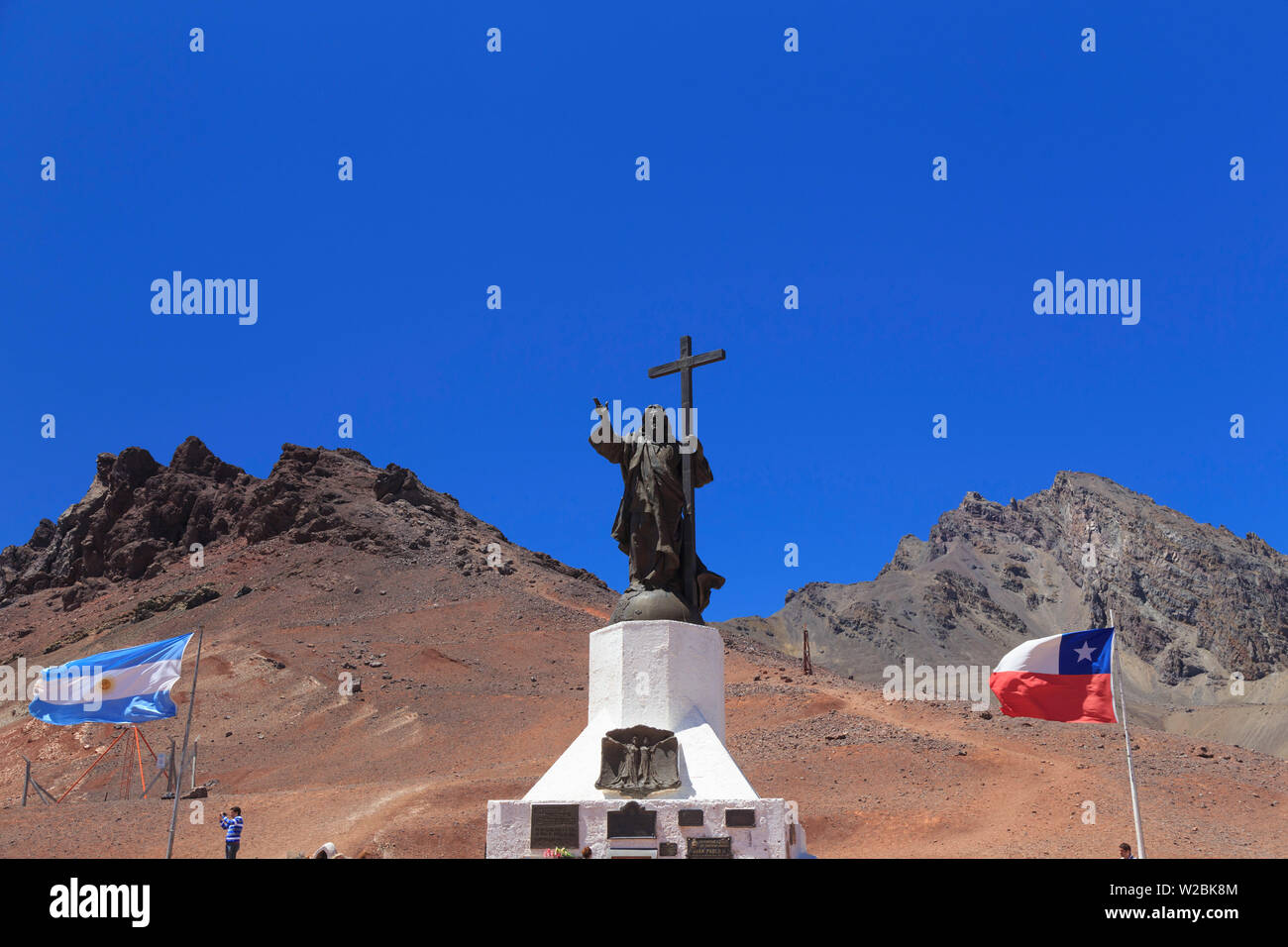 Argentina, Mendoza, Ruta 7, Christ the Redeemer statue on the border between Argentina and Chie - Stock Image