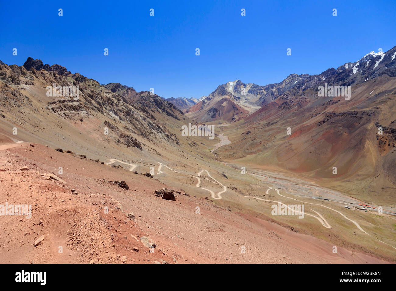 Argentina, Mendoza, Ruta 7, the winding road on the way to Christ the Redeemer Staute, Border between Argentina and Chile - Stock Image