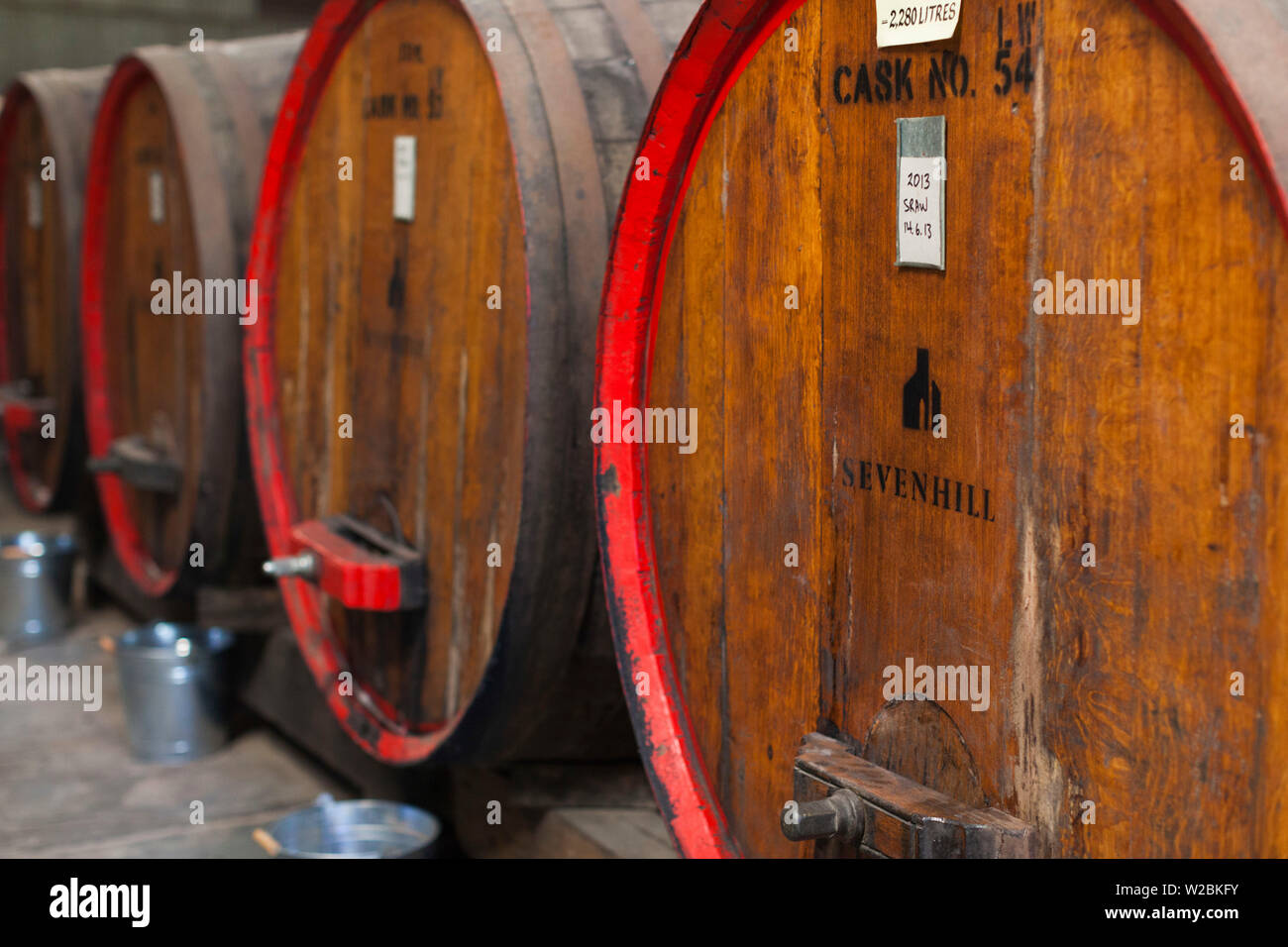 Australia, South Australia, Clare Valley, Sevenhill, Sevenhill Cellars, last remaining Jesuit-owned winery in Australia, founded in 1851, wine casks - Stock Image
