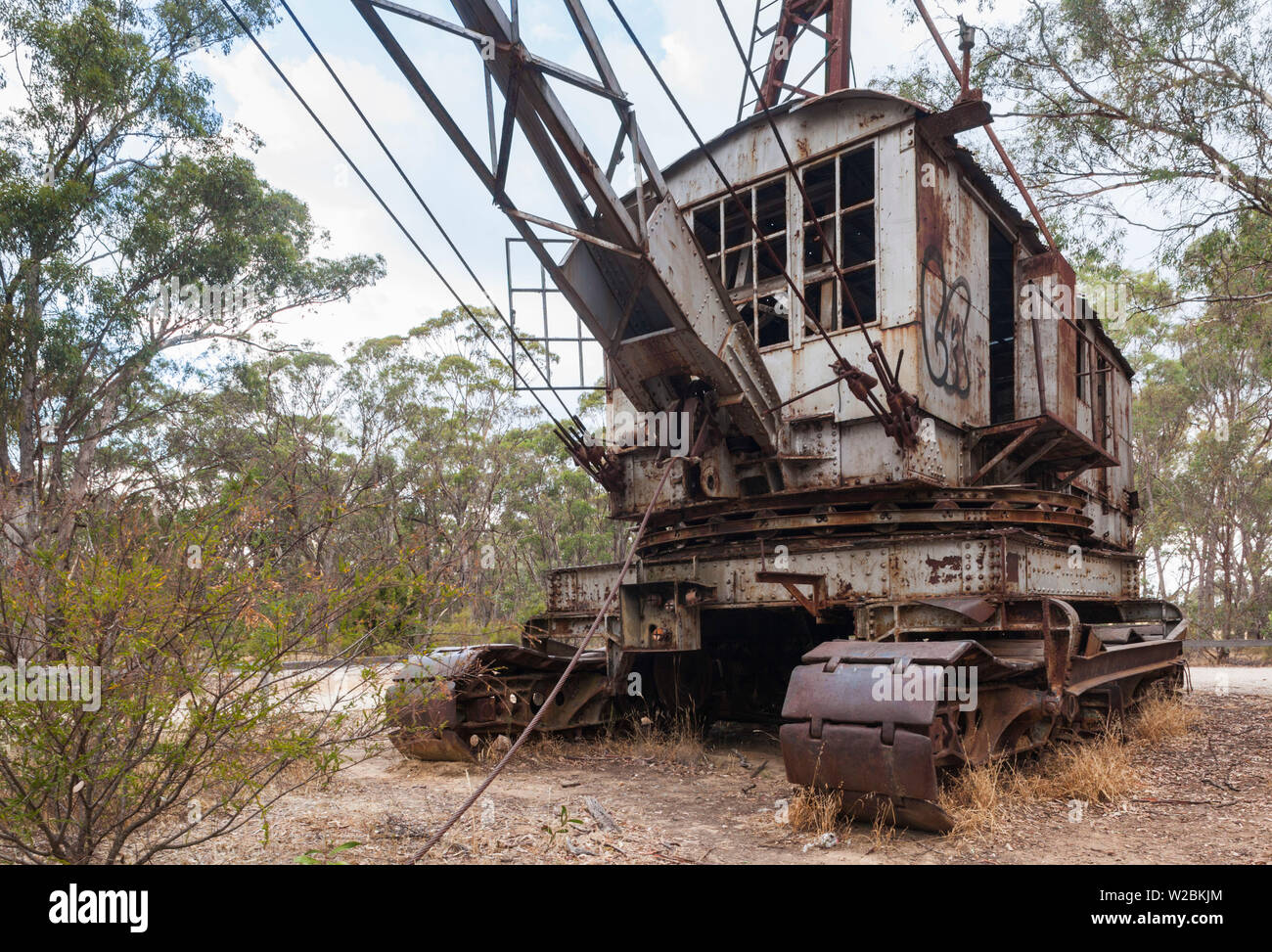 Australia, Victoria, VIC, Castlemaine, old gold mine dredging machinery - Stock Image