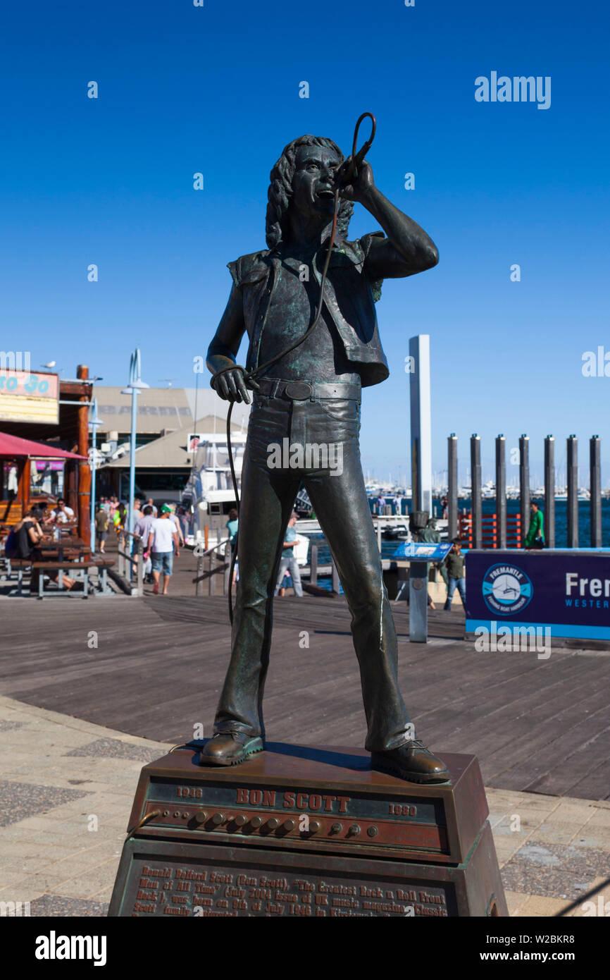 Australia, Western Australia, Freemantle, Fishing Boat Harbour, statue of Bon Scott, lead singer of rock band AC-DC by Greg James - Stock Image