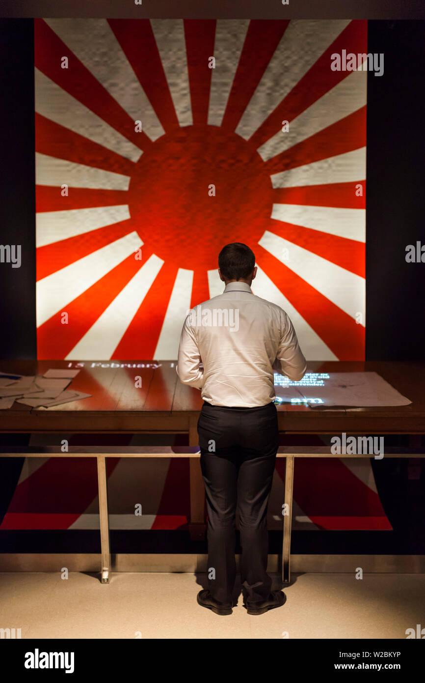 Australia, Australian Capital Territory, ACT, Canberra, Australian War Memorial Museum, WW2-era Japanese Rising Sun flag - Stock Image