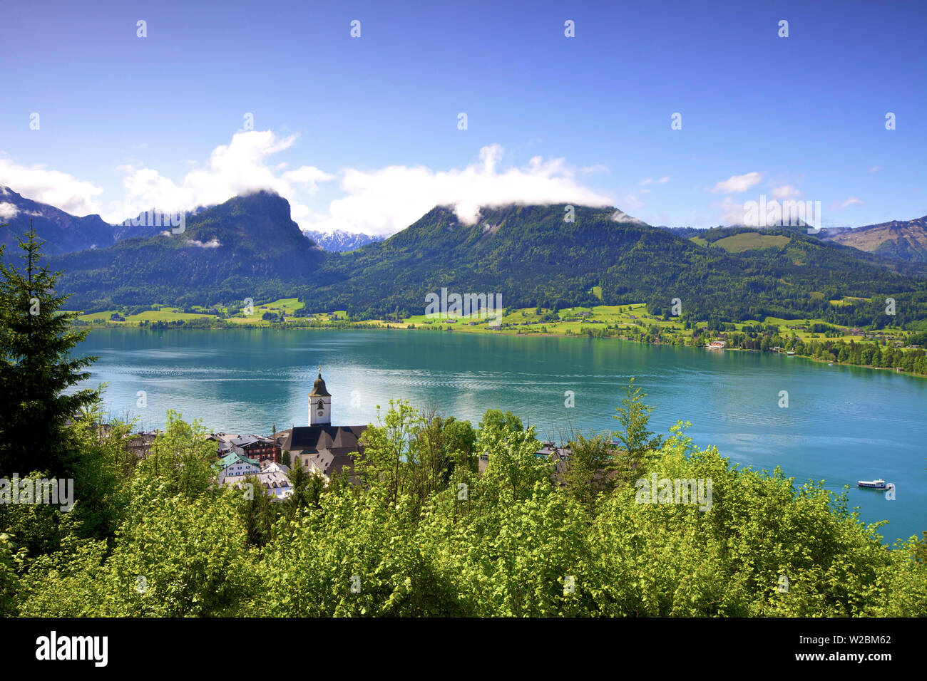 A Ferry Boat on Wolfgangsee Lake, St. Wolfgang, Austria, Europe, - Stock Image