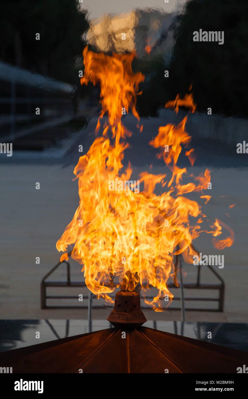 Azerbaijan, Baku, Sahidlar Xiyabani - Martyr's Lane, Eternal Flame Memorial Stock Photo
