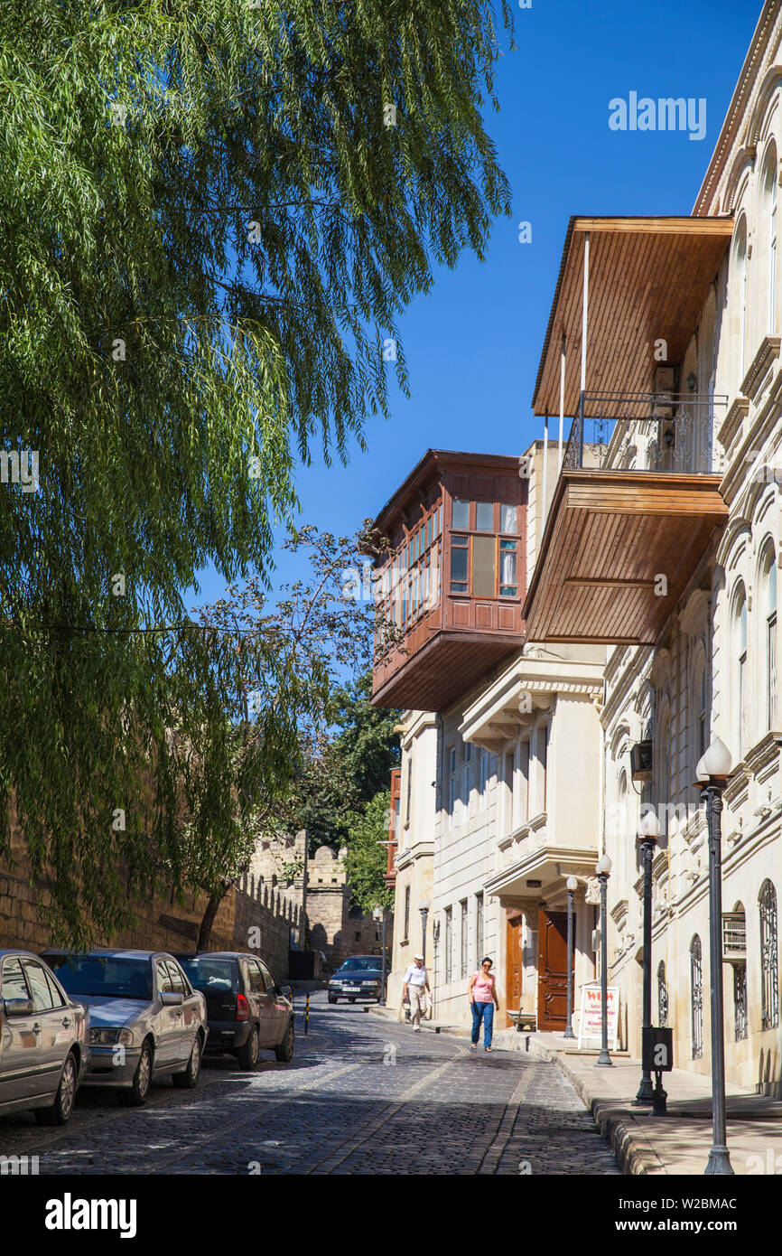 Azerbaijan, Baku, A street in The Old Town - Icheri Sheher, opposite old city walls - Stock Image