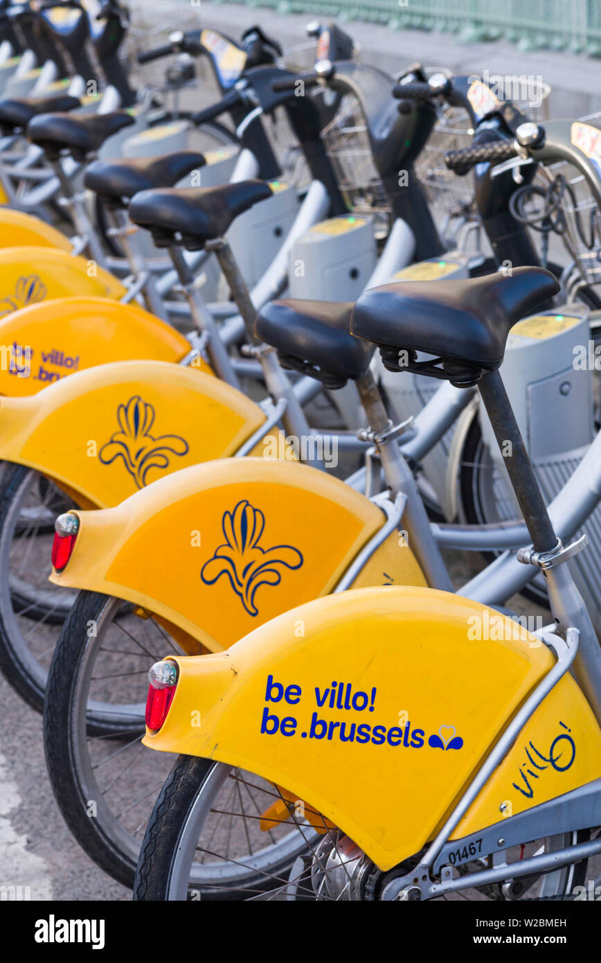 Belgium, Brussels, Molenbeek, Canal District, Villo! rental bicycles - Stock Image