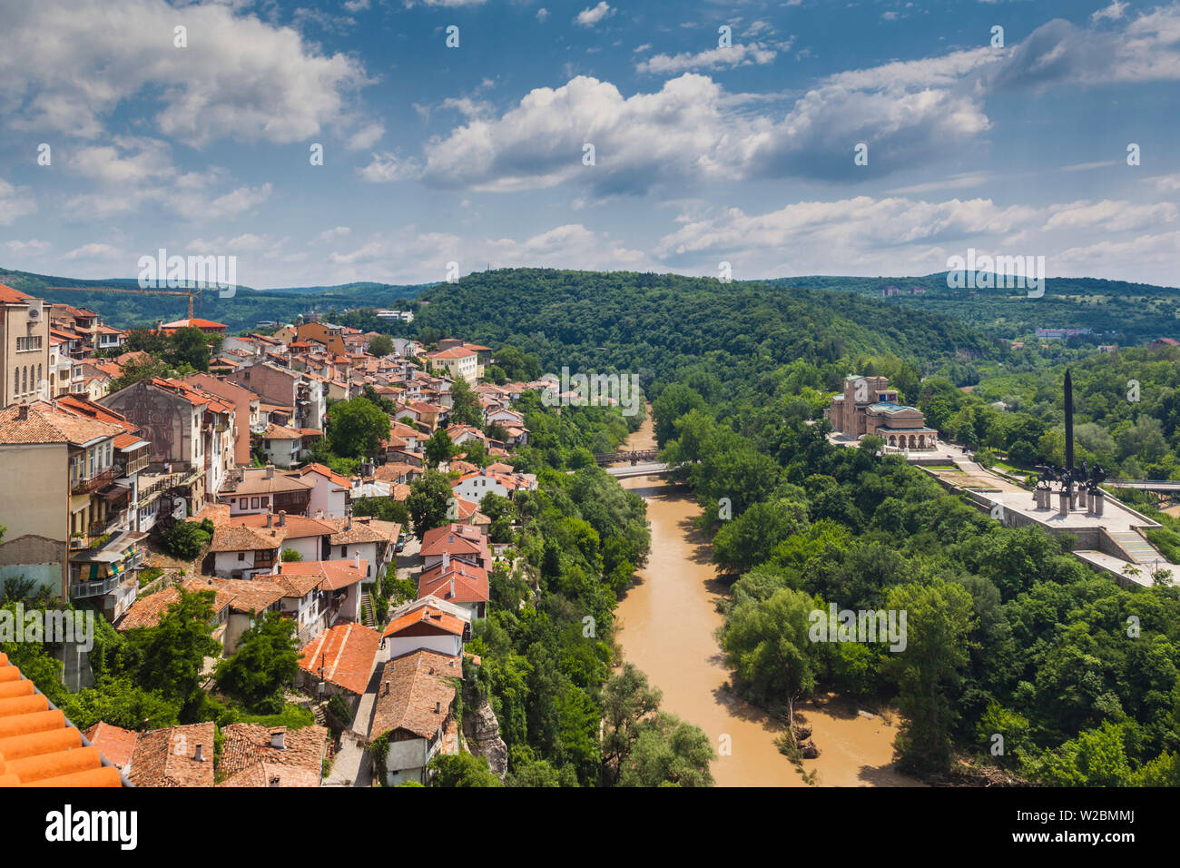 Bulgaria, Central Mountains, Veliko Tarnovo, elevated view of Varosha, Old Town Stock Photo