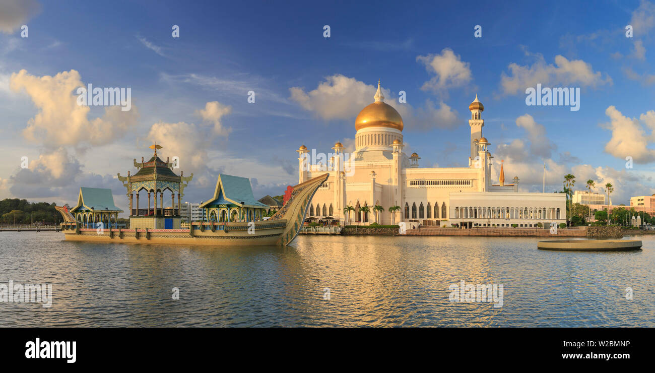 Kingdom of Brunei, Bandar Seri Begawan, Omar Ali Saifuddien Mosque - Stock Image
