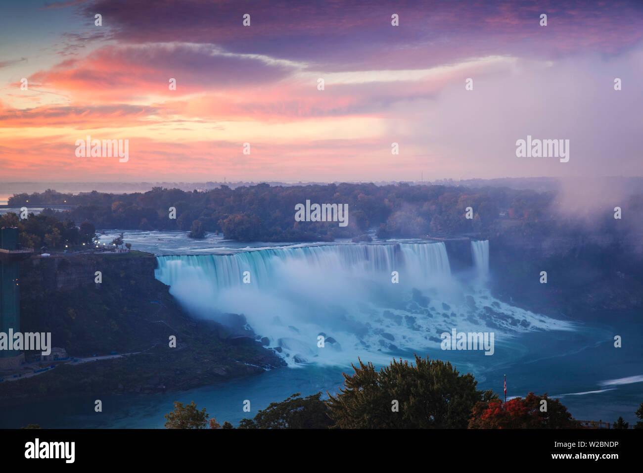 Canada and USA, Ontario and New York State, Niagara, Niagara Falls, View of The American and Bridal Veil Falls at dawn Stock Photo