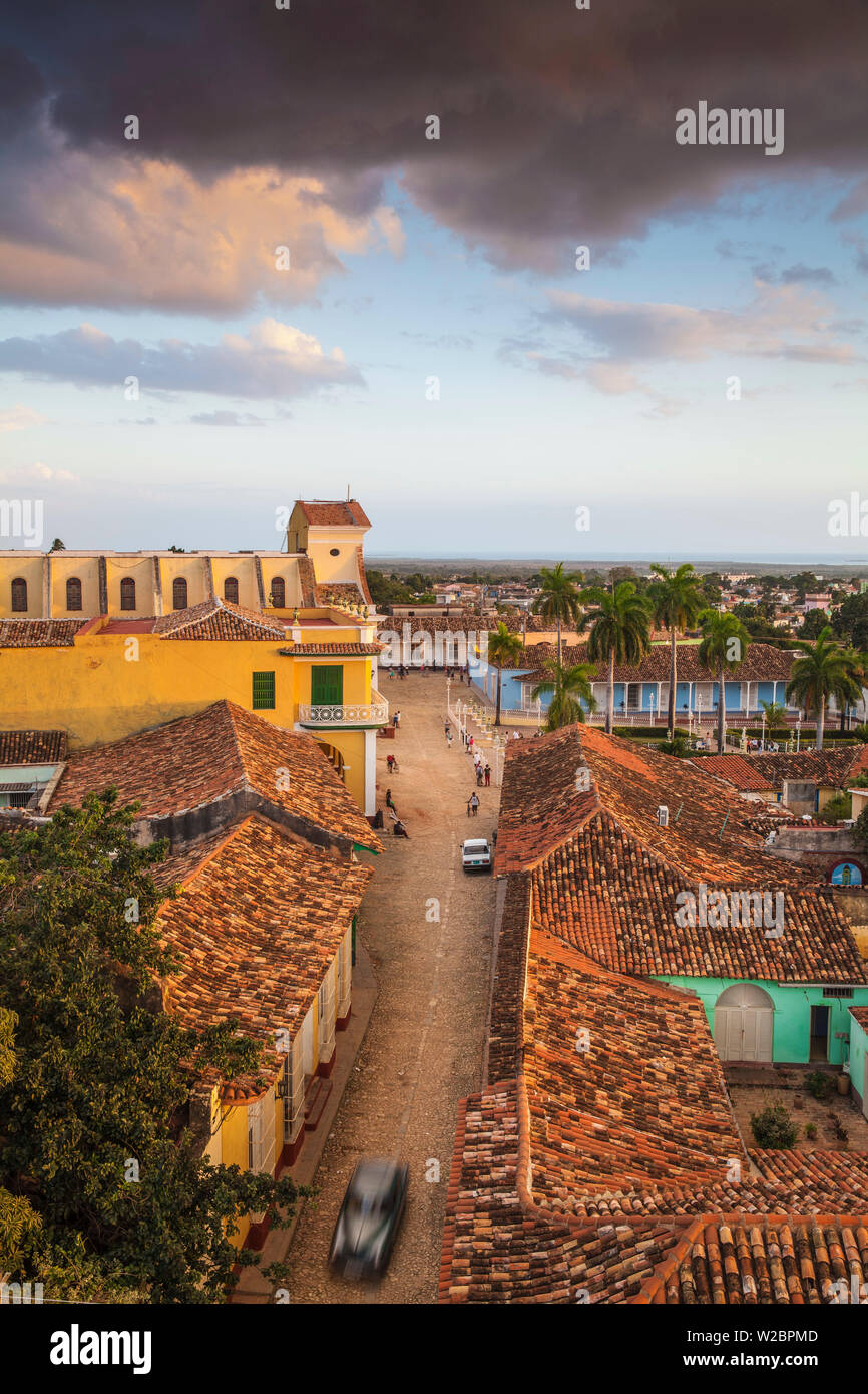 Cuba, Trinidad, View of Iglesia Parroquial de la Santisima Trinidad - Church of the Holy Trinity on Plaza Mayor - Stock Image