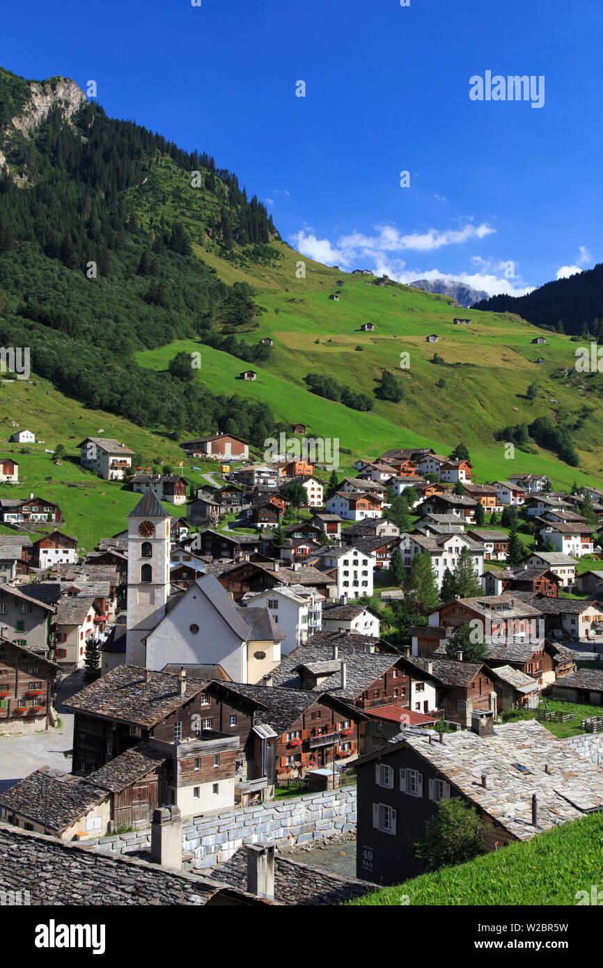 Switzerland, Graubunden, Vals, Town Center Stock Photo