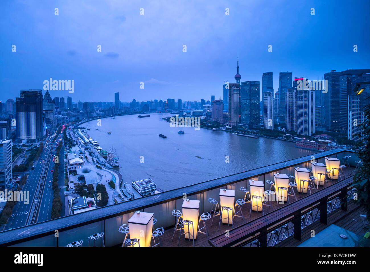 The Bund from the rooftop bar of the Indigo on the Bund Hotel, Shanghai, China - Stock Image