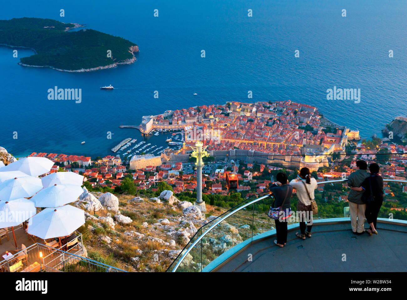 Croatia, Dalmatia, Dubrovnik, Old Town (Stari Grad) from Mount Srd, Cable Car Stock Photo