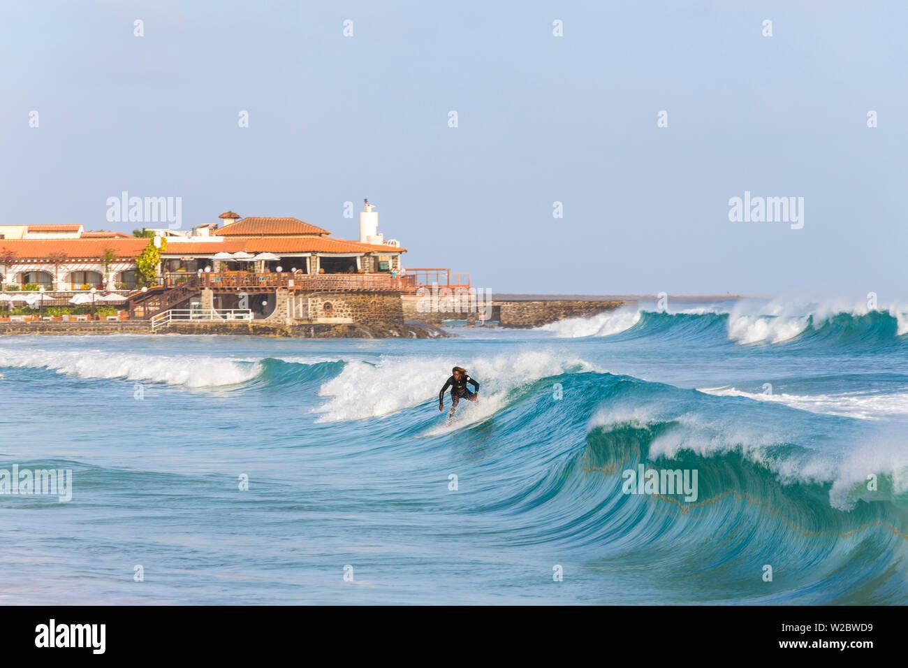 Surfer, Santa Maria, Sal Island, Cape Verde Stock Photo