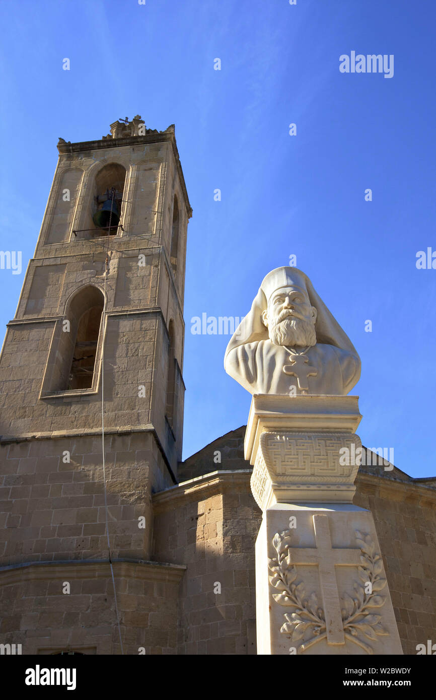 Bust of Archbishop Kyprianos and Cathedral of St. John The Theologian, South Nicosia, Cyprus, Eastern Mediterranean Sea - Stock Image