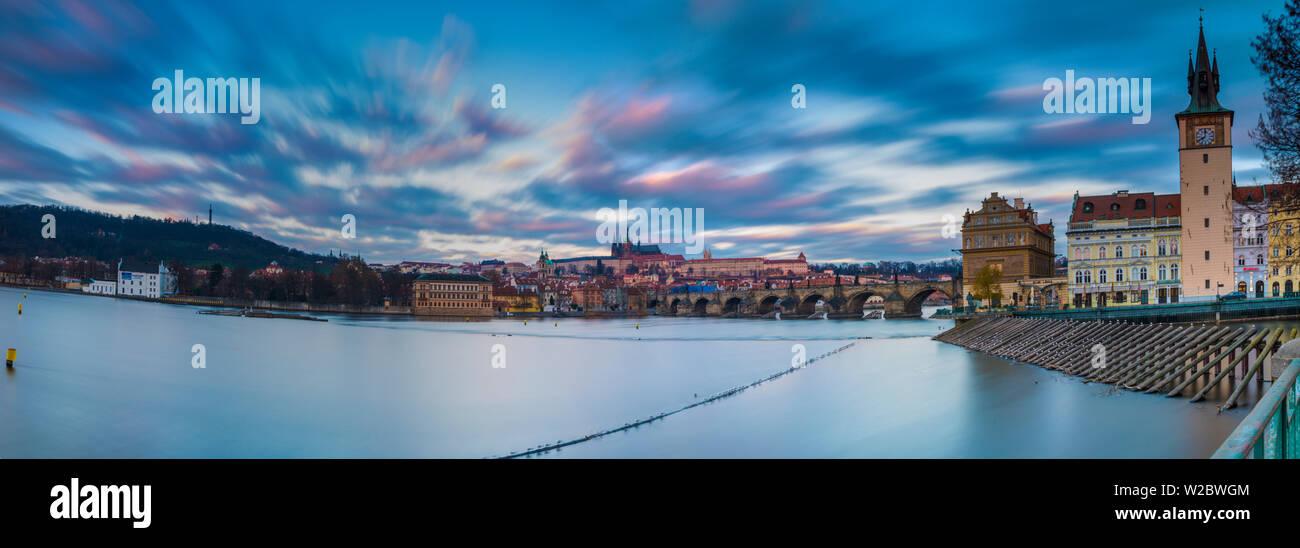 Vltava River and Prague, Czech Republic - Stock Image