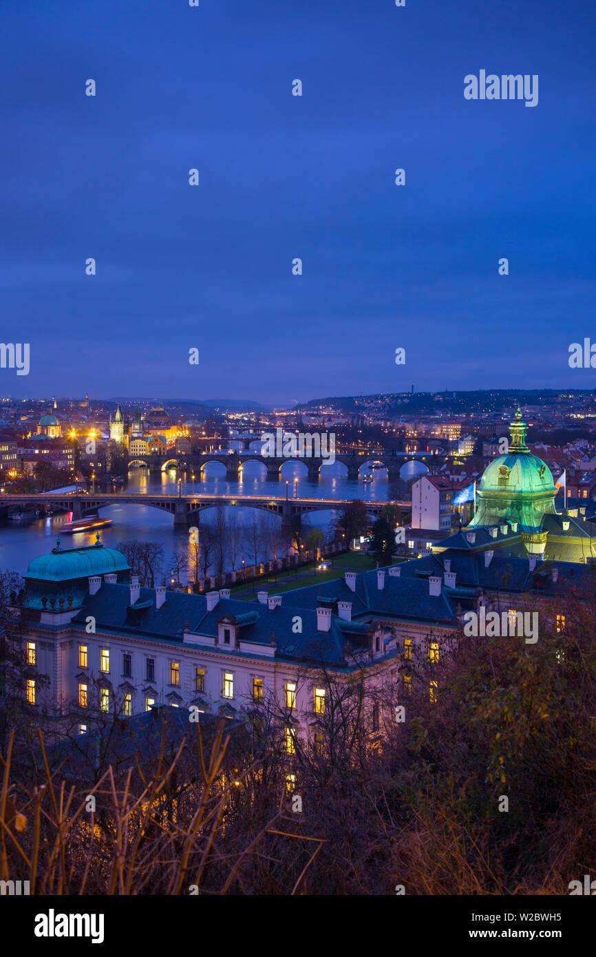 View of the Vltava River and Prague, Czech Republic - Stock Image
