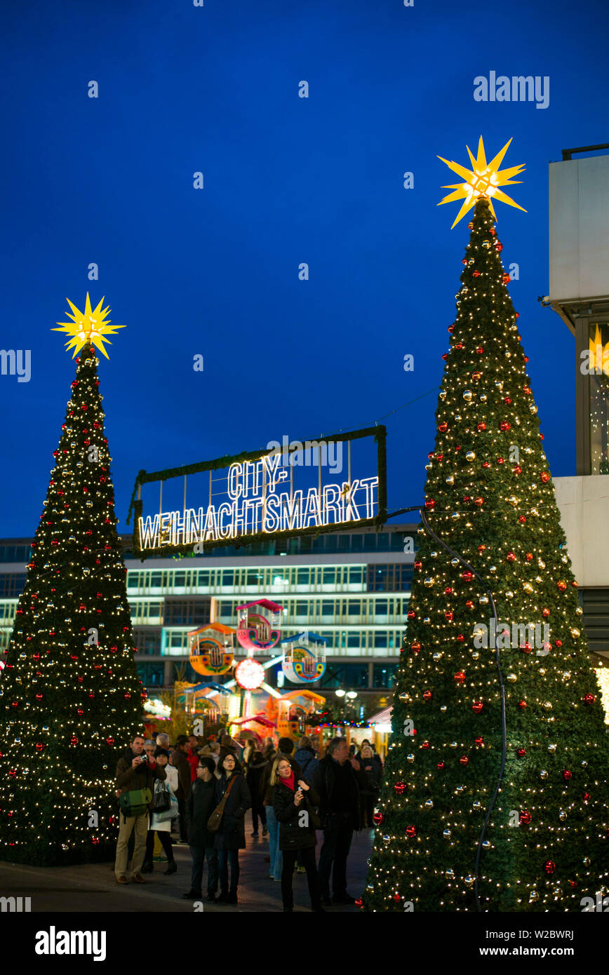 Germany, Berlin, Charlottenburg, Kurfurstendam, Europa Center, City Christmas market Stock Photo