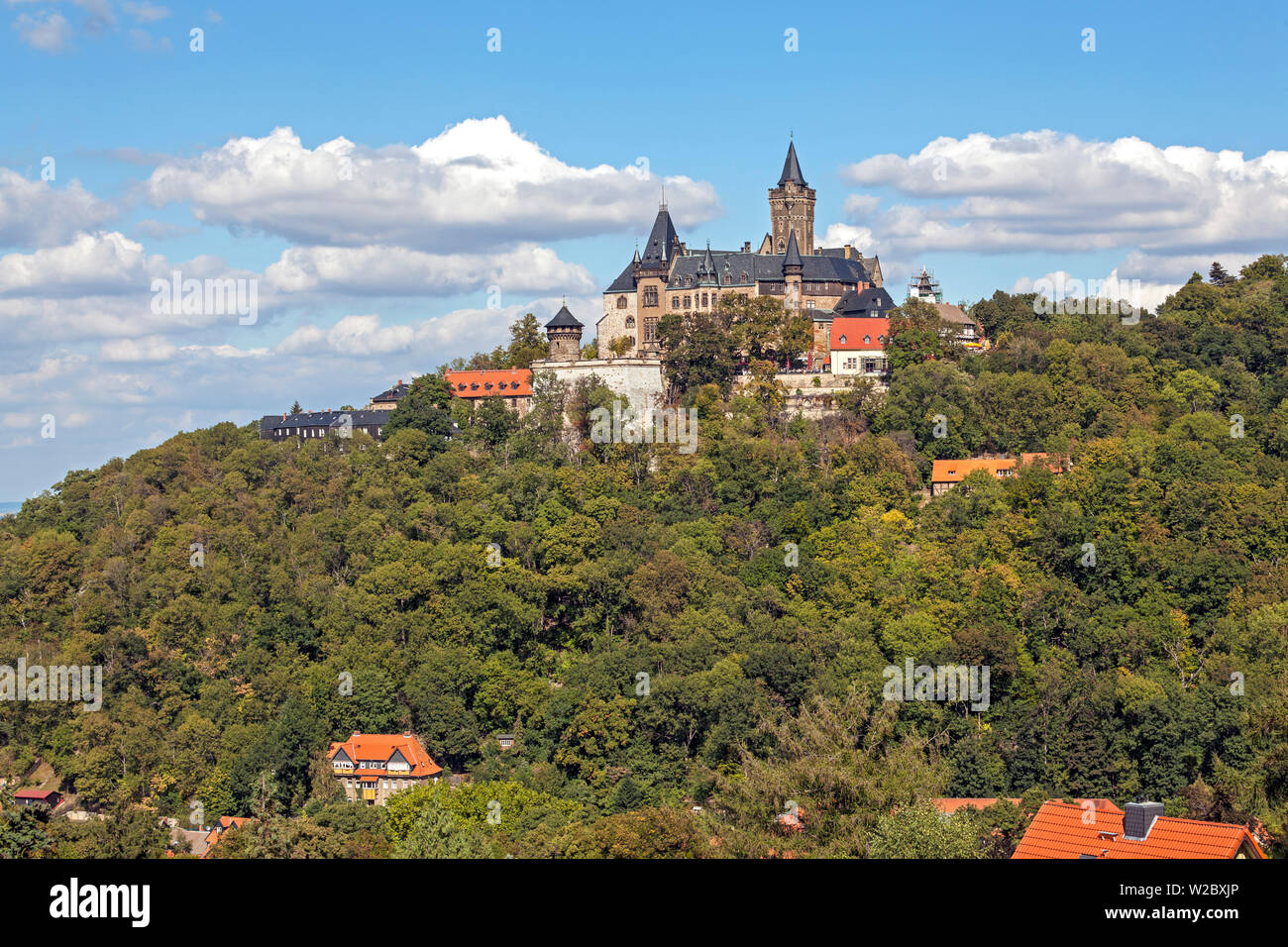 Wernigerode Castle at the foot of the Harz Mountains, Wernigerode, Saxony-Anhalt, Germany - Stock Image