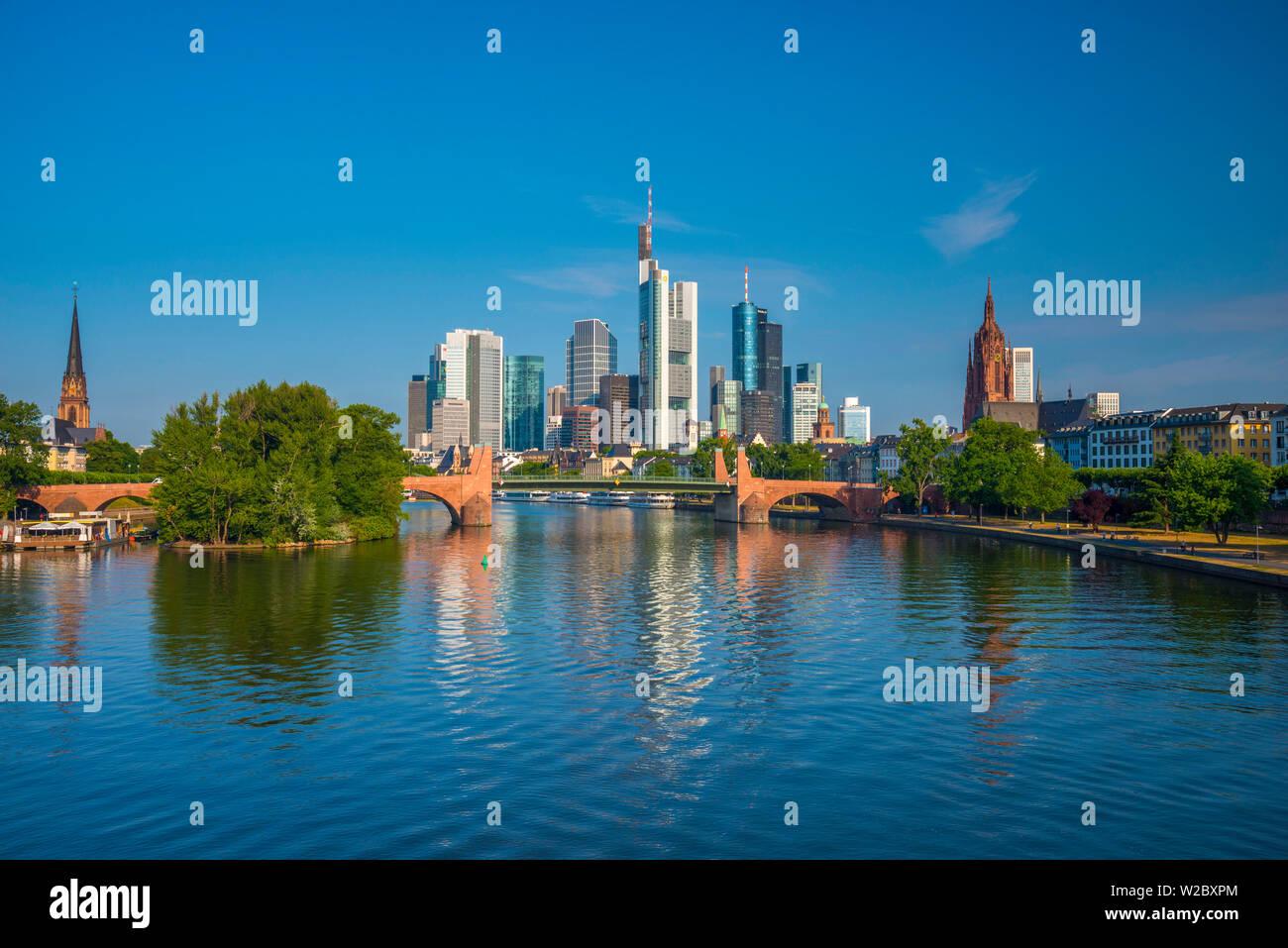 Germany, Hessen, Frankfurt Am Main, City Skyline across River Main Stock Photo
