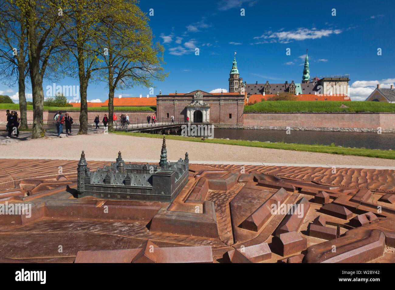Denmark, Zealand, Helsingor, Kronborg Castle, also known as Elsinore Castle, from Shakespeare's Hamlet, outdoor scale model - Stock Image