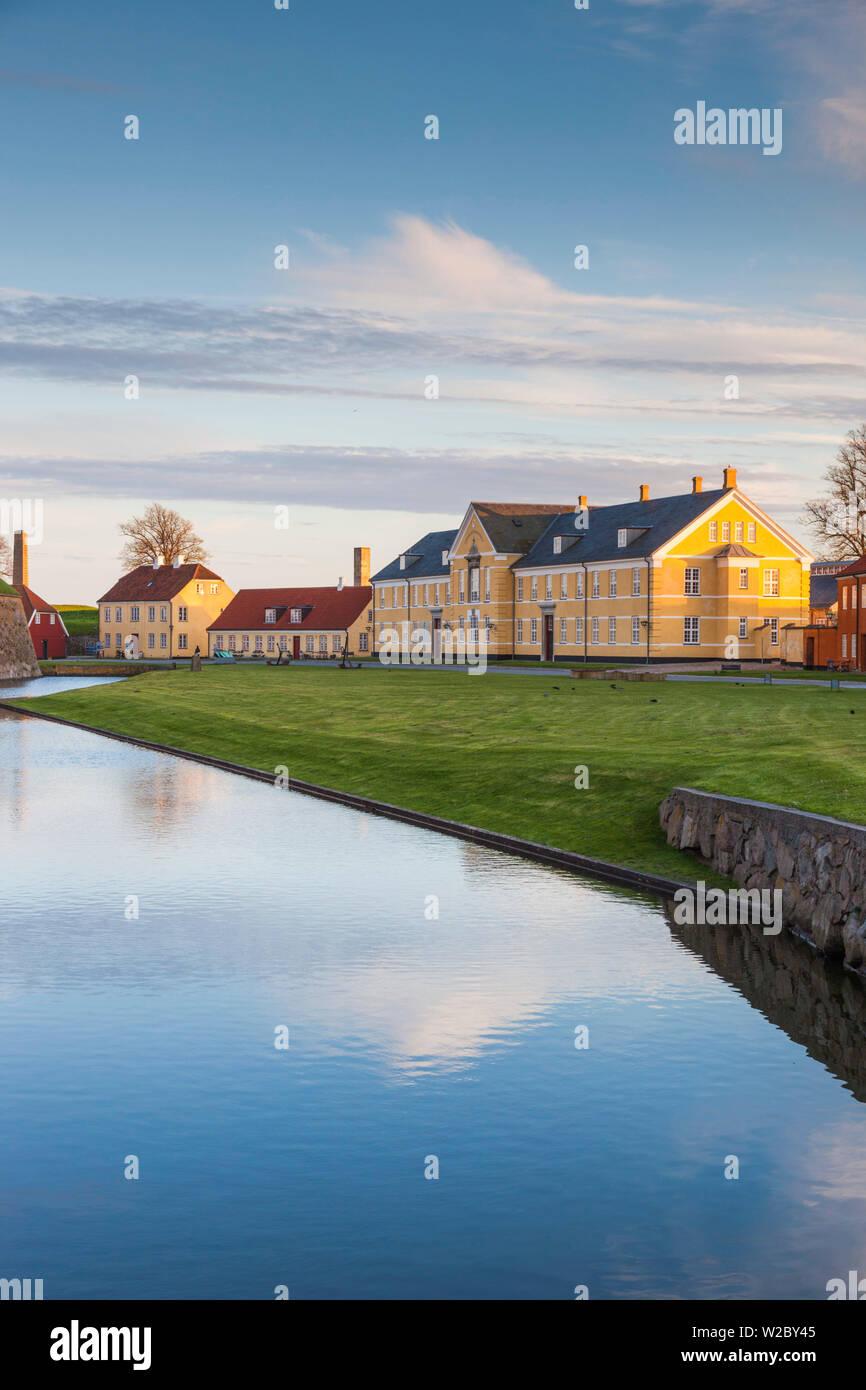 Denmark, Zealand, Helsingor, Kronborg Castle, also known as Elsinore Castle from Shakespeare's Hamlet, castle buildings inside castle moat - Stock Image