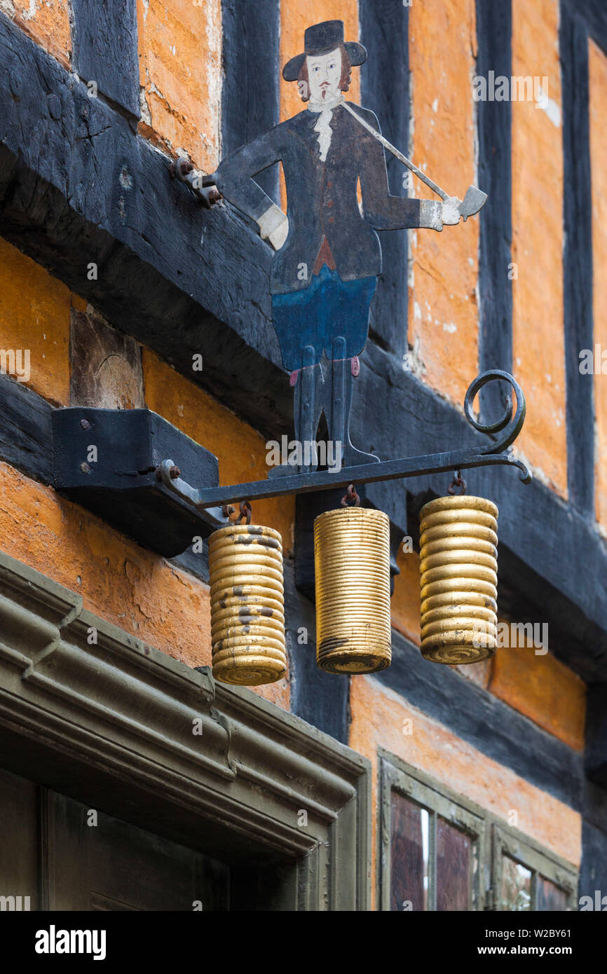Denmark, Jutland, Aarhus, Den Gamle By, reconstructed Old Town, sign of man with smoking pipe Stock Photo