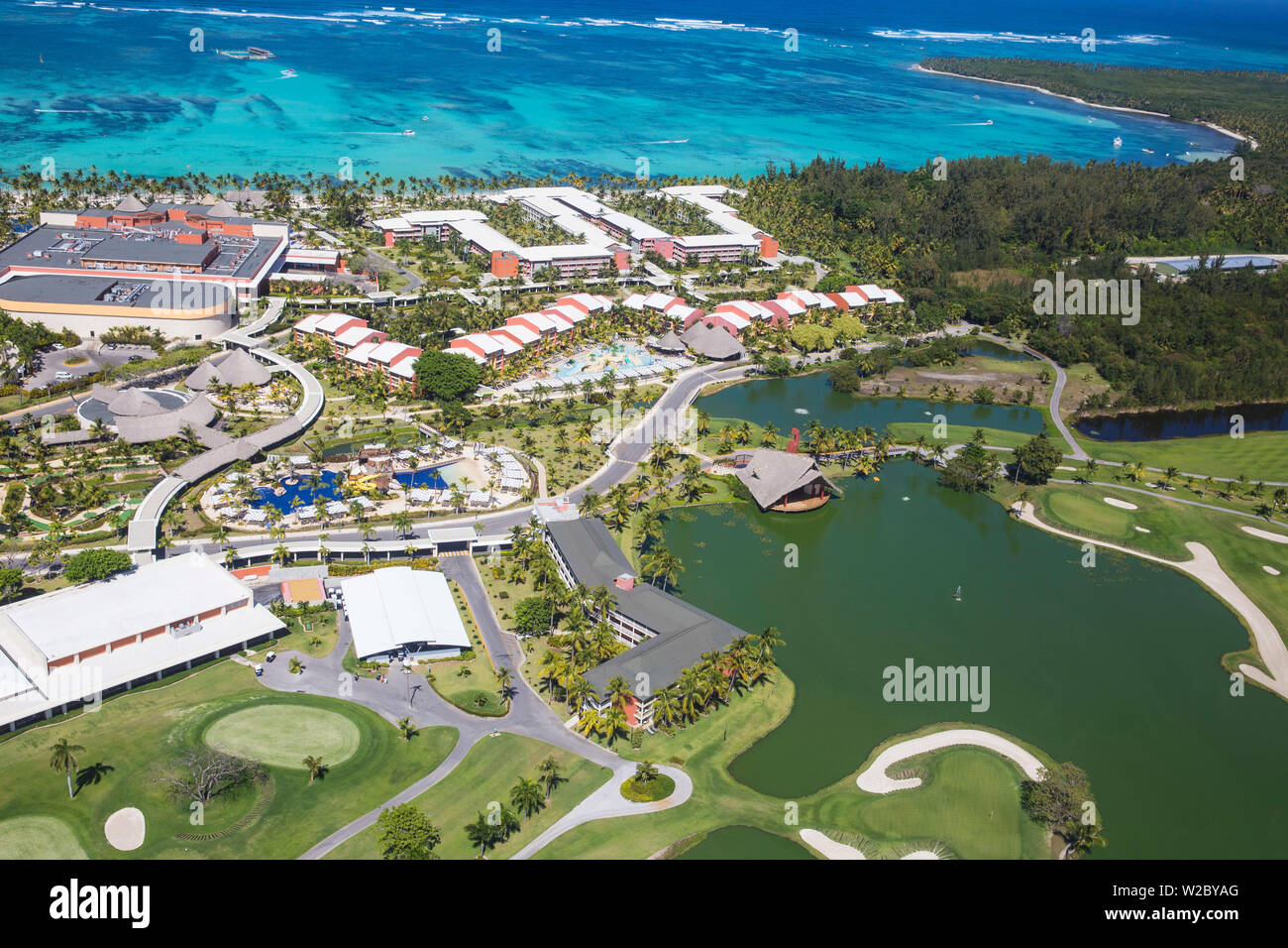 Dominican Republic Punta Cana View Of â Barcelo Bavaro Palace Deluxe Hotel And The Lakes Golf Course By P D Dye Stock Photo Alamy