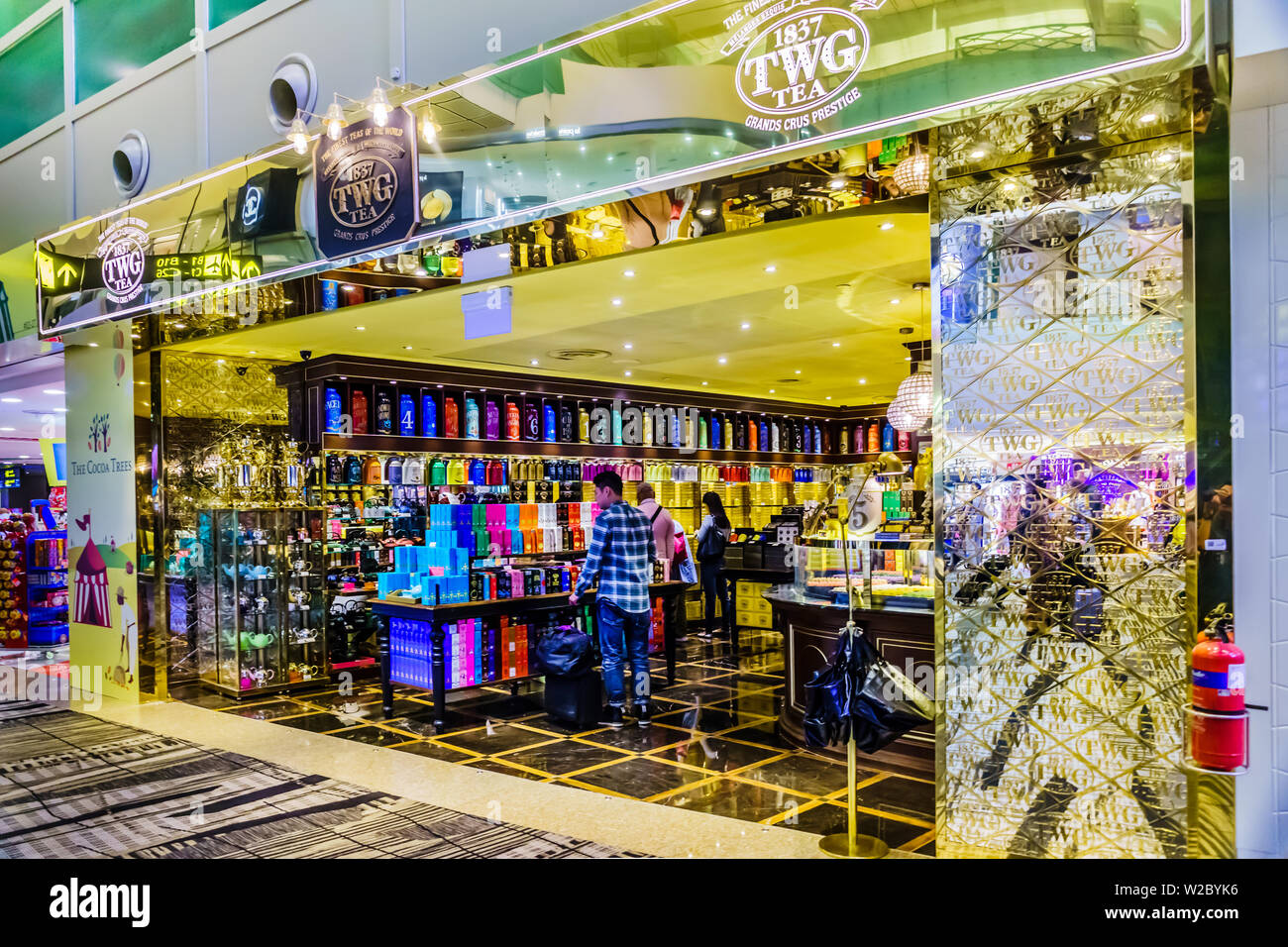 Singapore - May 8, 2019: Travellers moving and Shopping in Changi Airport,  Terminal 3, Singapore. - Stock Image