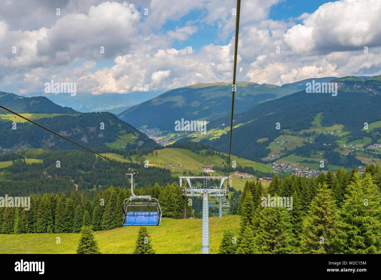 Ski lift at Val Gardena valley in Italy at summer Stock Photo
