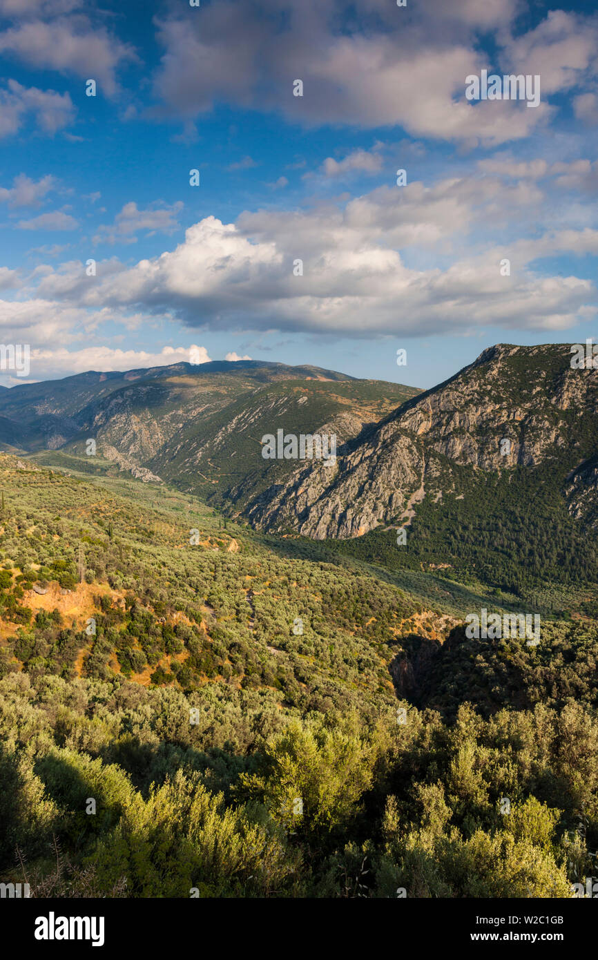 Greece, Central Greece Region, Delphi, landscape above Delphi Valley Stock Photo