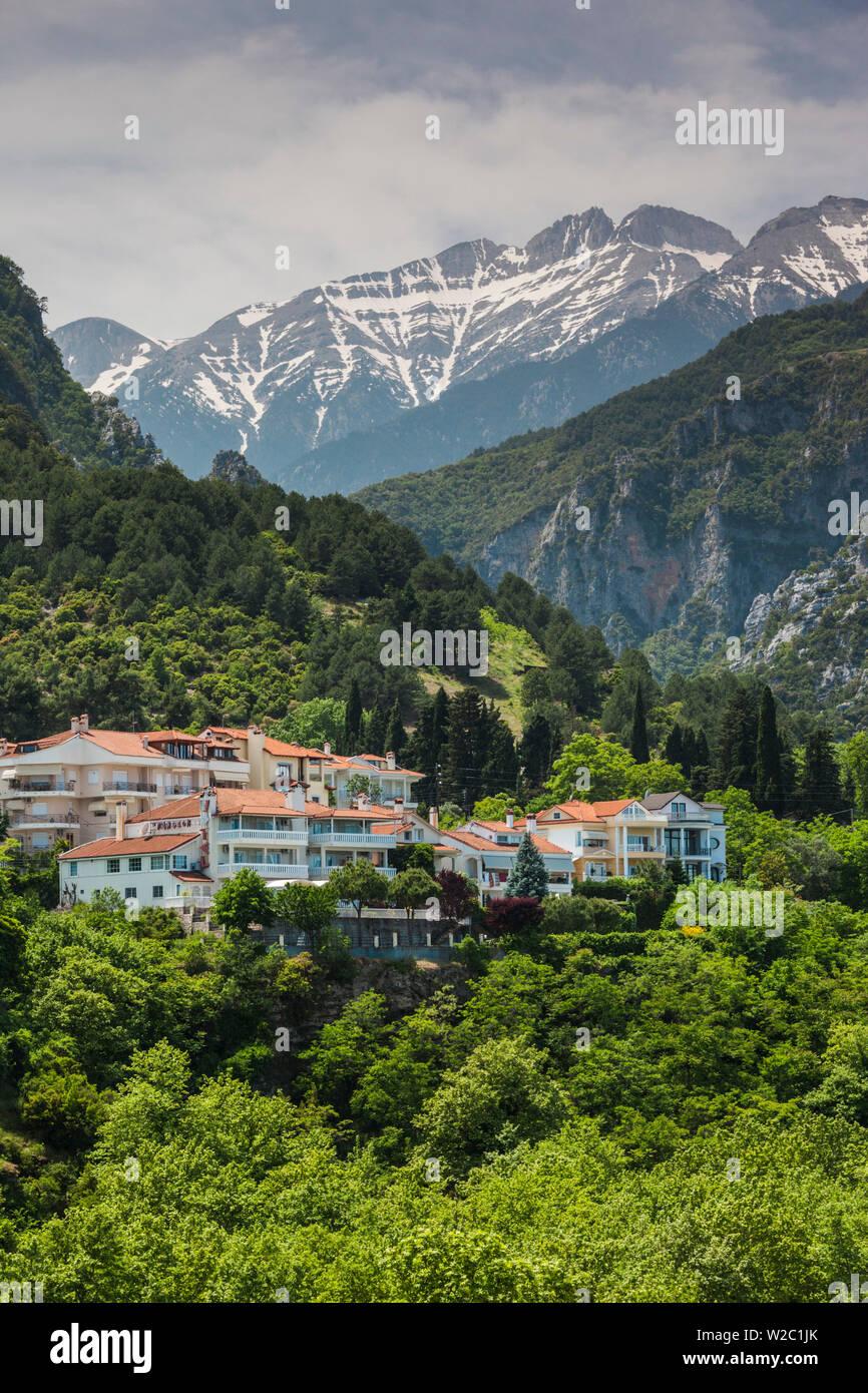 Greece, Central Macedonia Region, Litohoro, view of Mount Olympus - Stock Image
