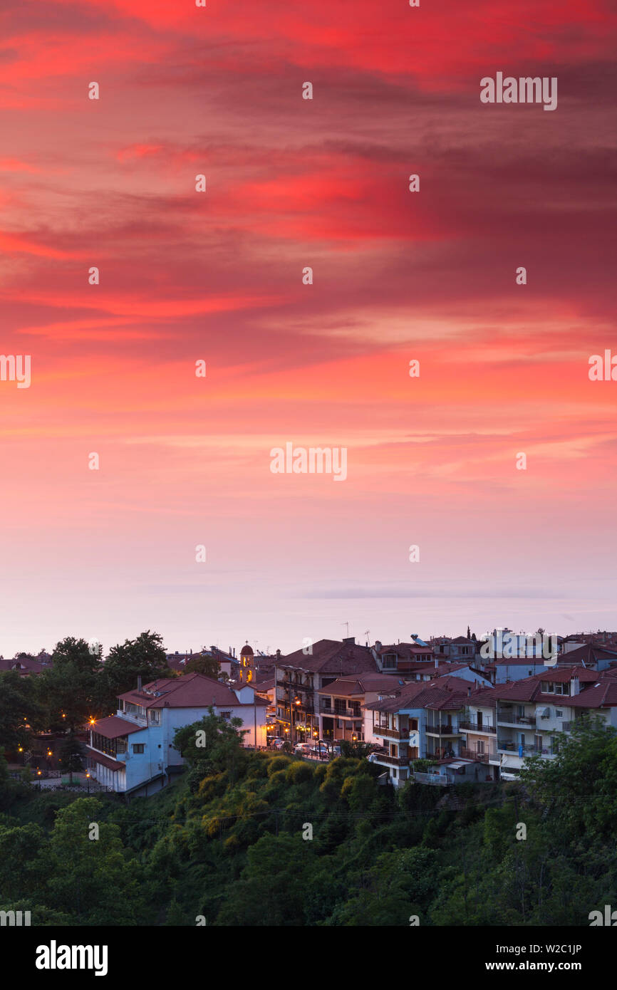 Greece, Central Macedonia Region, Litohoro, elevated town view, dawn - Stock Image