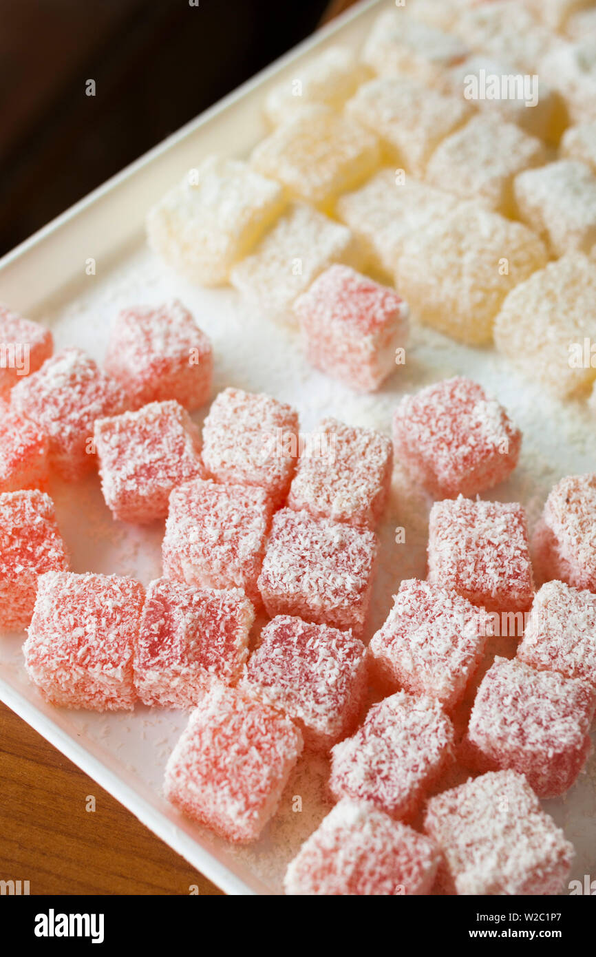 Greece, East Macedonia and Thrace Region, Xanthi, Old Xanthi, traditional, lokoumi sweets, (also known as Turkish Delight but not in Greece) - Stock Image
