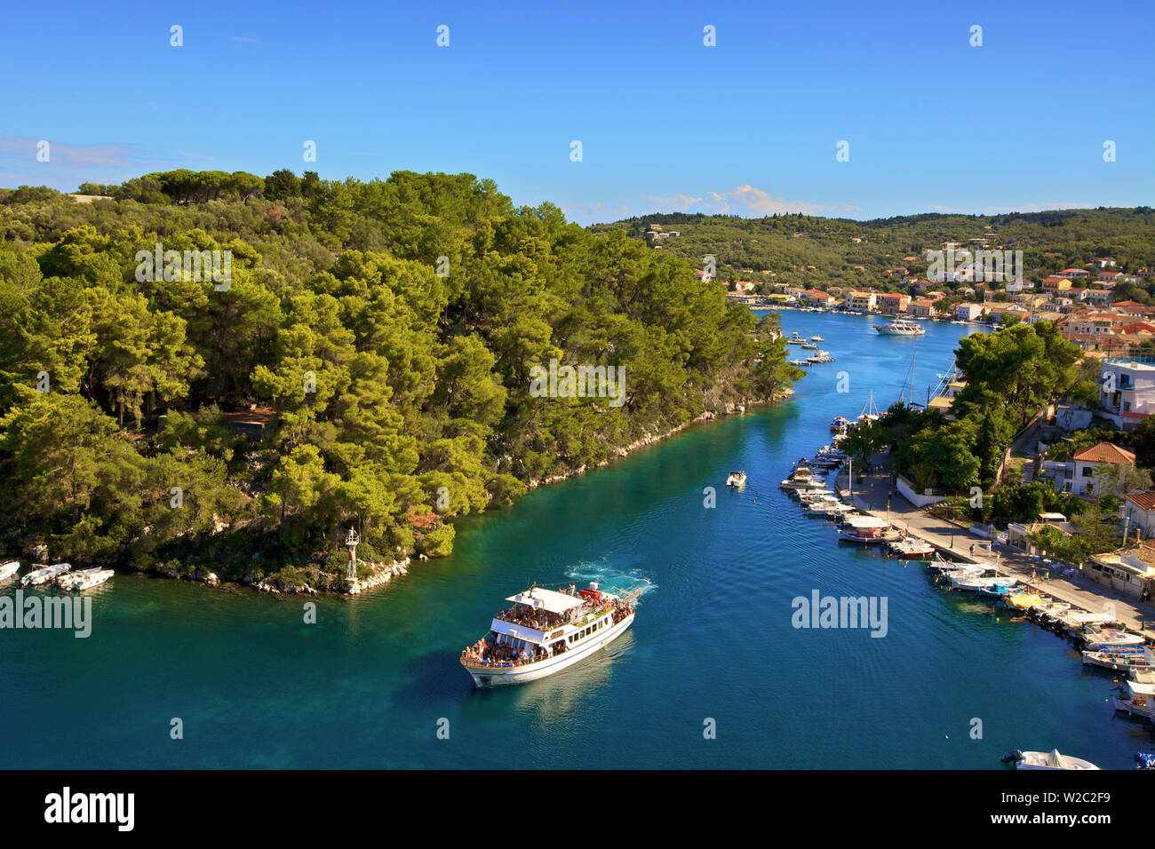 View Over Gaios Harbour, Paxos, The Ionian Islands, Greek Islands, Greece, Europe - Stock Image