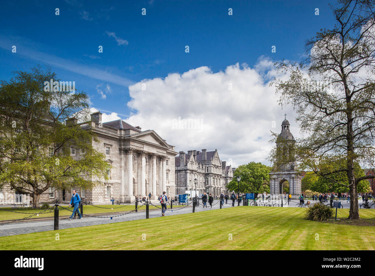 Ireland, Dublin, Trinity College, Parliament Square and Campanile Stock Photo