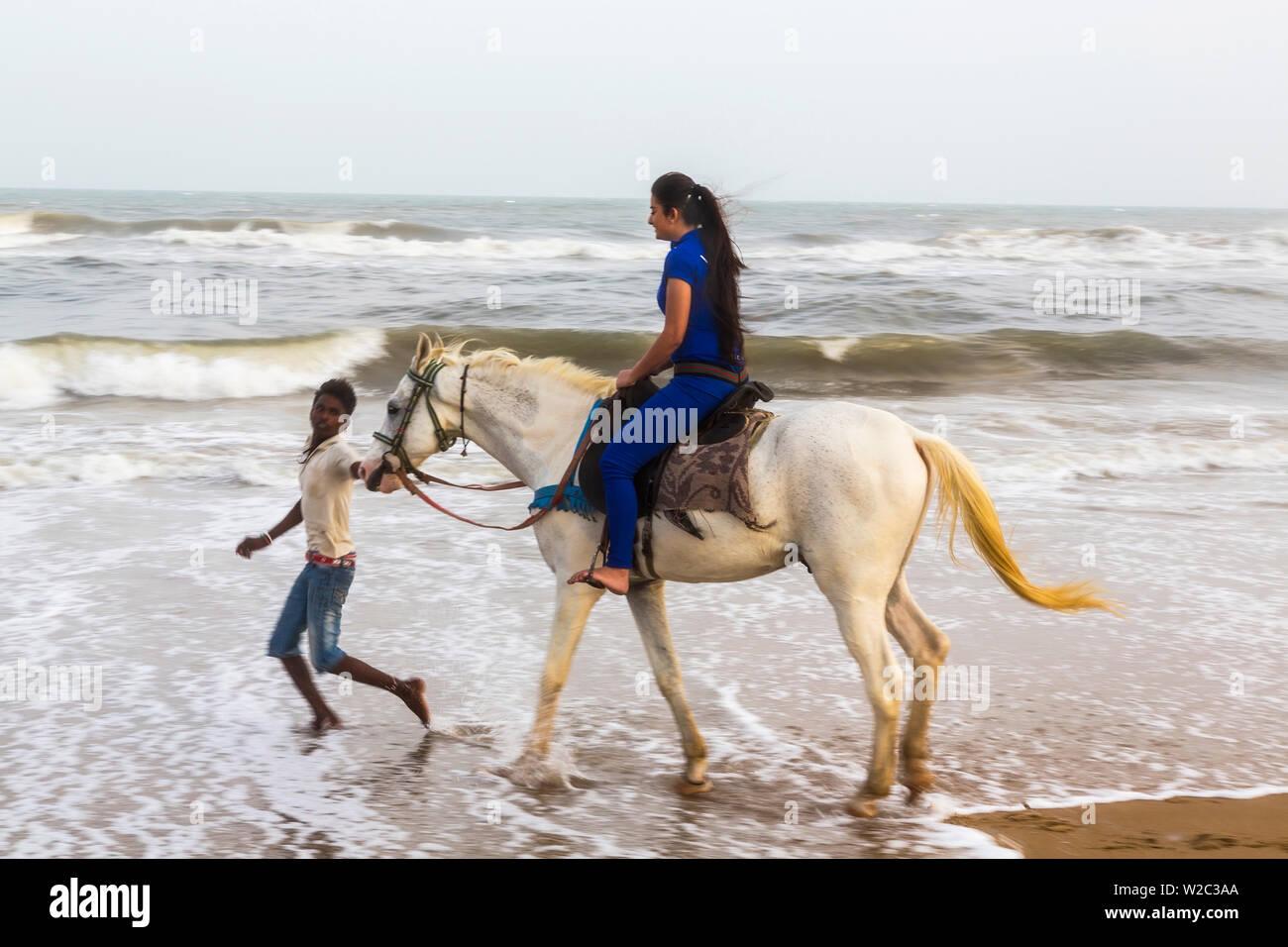 Horse Riding On The Beach Chennai Madras Tamil Nadu India Stock Photo Alamy