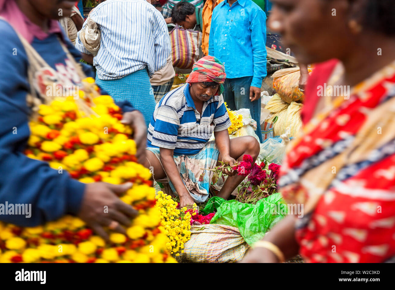 Flower market, Kolkata (Calcutta), India - Stock Image