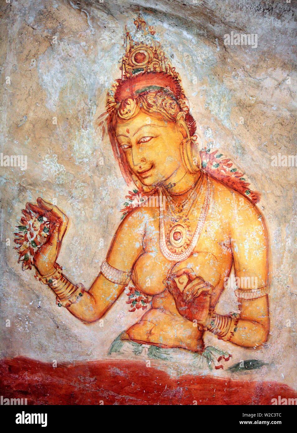 Mural painting (6th century), Sigiriya, Sri Lanka - Stock Image