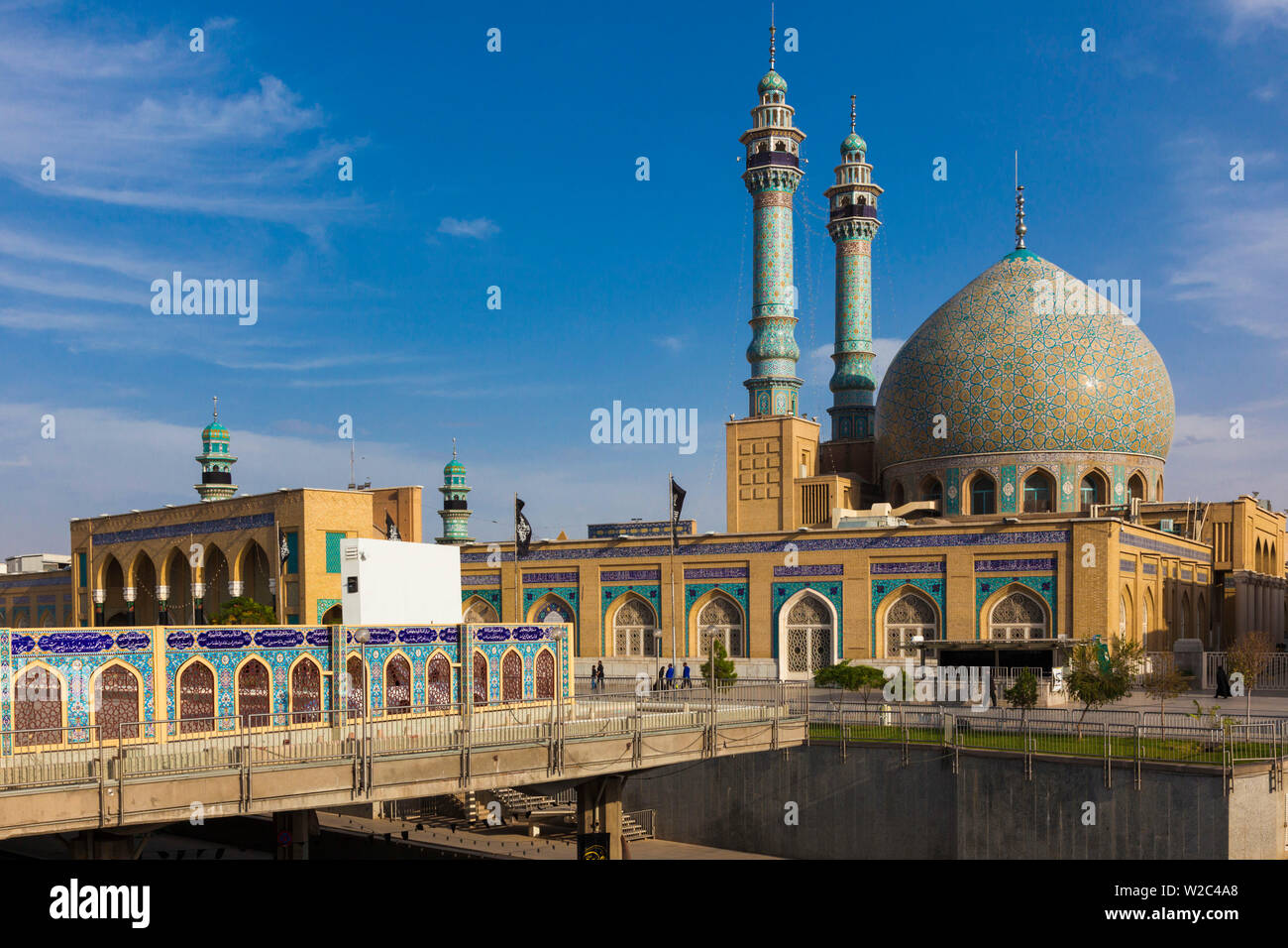 Iran, Central Iran, Qom, second holiest city in Iran after Mashad,  Hazrat-e Masumeh, Holy Shrine, burial place of Imam Reza's sister Fatemeh in the 9th century AD, exterior Stock Photo