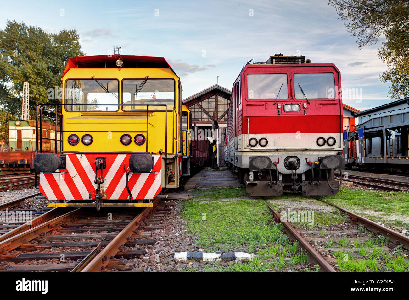 Two trains in depot at a day Stock Photo