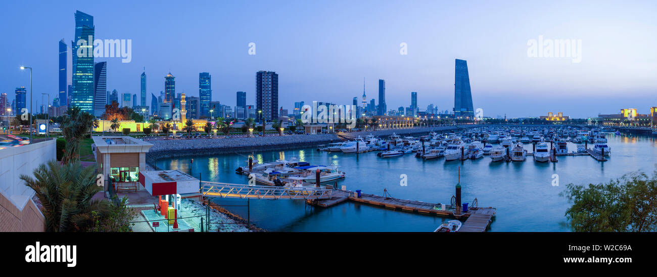 Kuwait, Kuwait City, the city skyline viewed from Souk Shark Mall and Kuwait harbour - Stock Image