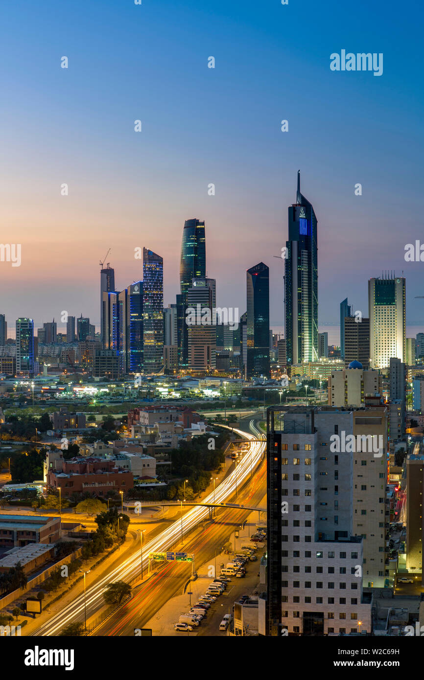 Kuwait, Kuwait City, Elevated view of the modern city skyline and central business district - Stock Image