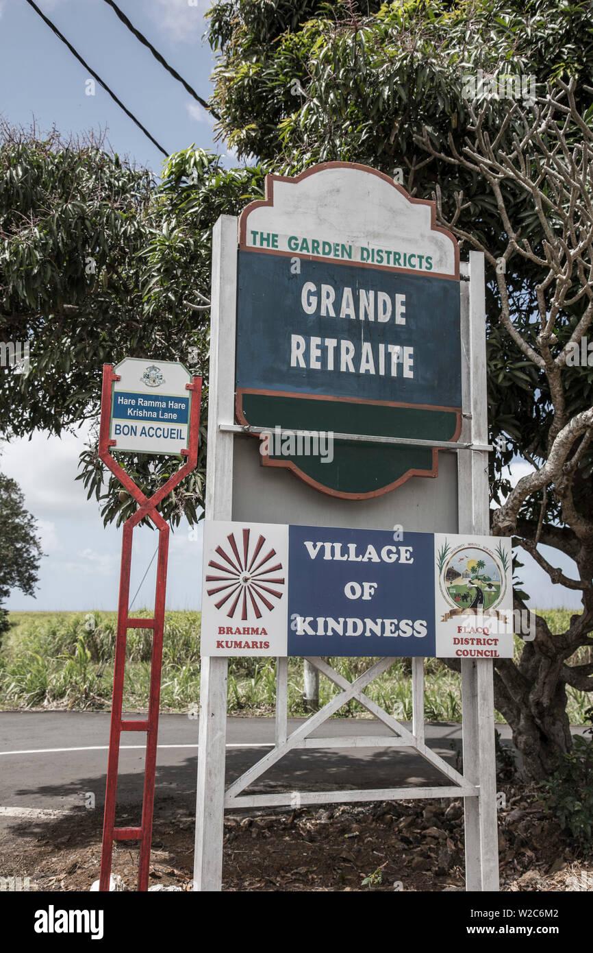 Village sign, Flacq, East Coast, Mauritius - Stock Image
