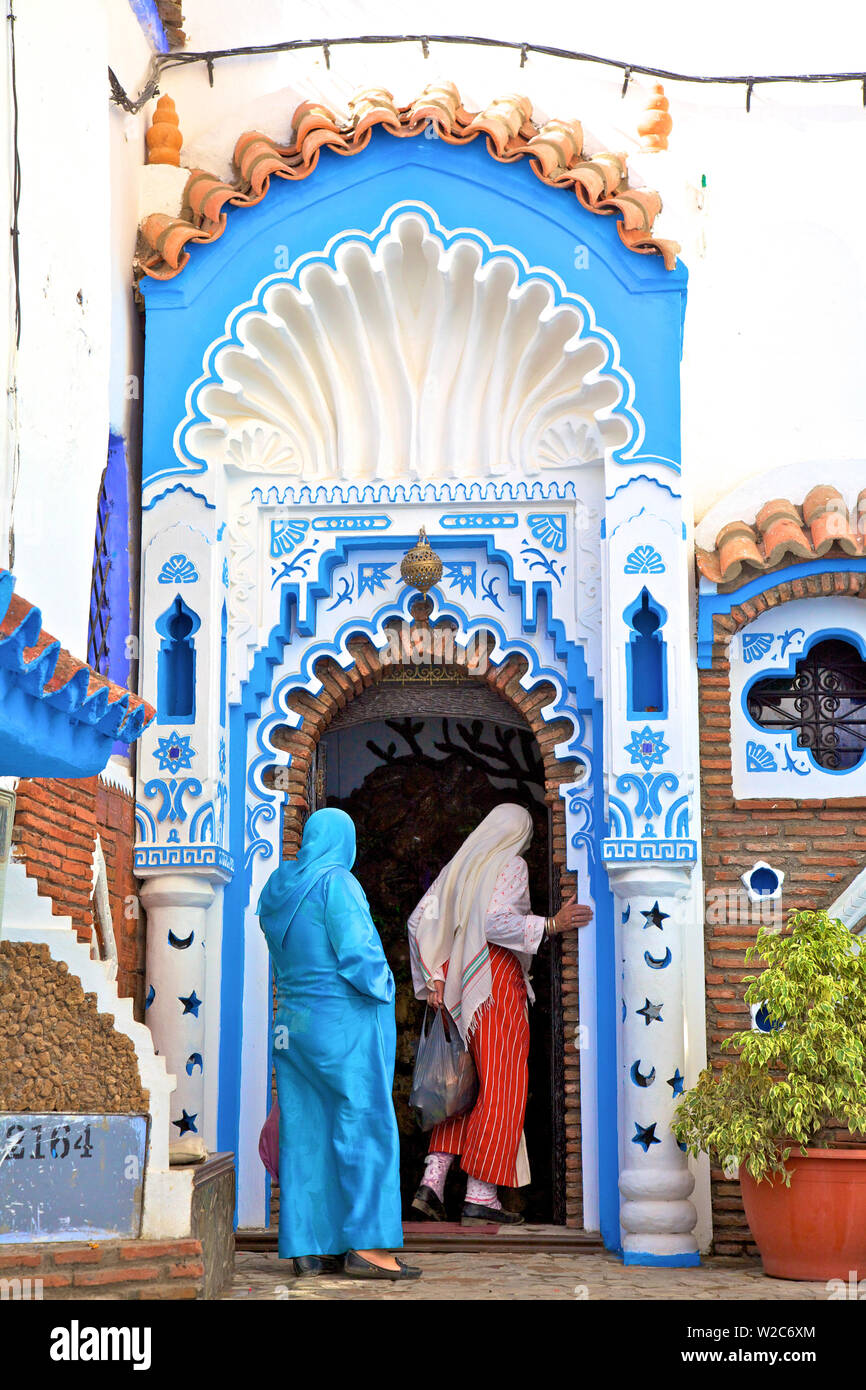 People In Traditional Clothing, Chefchaouen, Morocco, North Africa - Stock Image