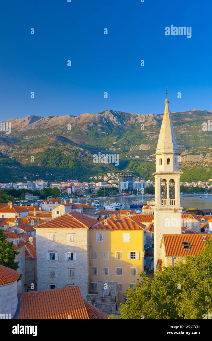 Montenegro, Budva, Old Town, Stari Grad, Sveti Ivan, Church of Saint John - Stock Image