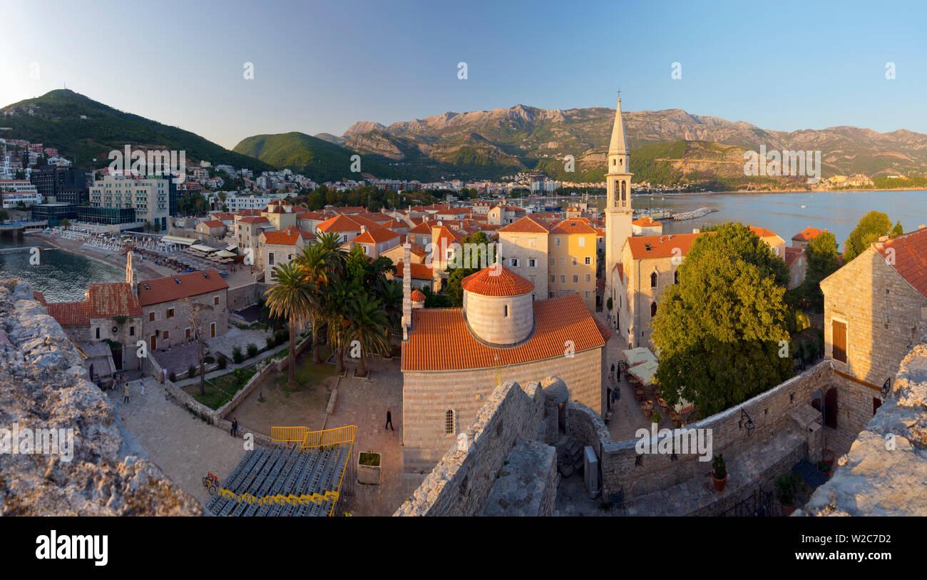 Montenegro, Budva, Old Town, Stari Grad, Church of the Holy Trinity, Crkva Sv. Trojice and Sveti Ivan, Church of Saint John - Stock Image