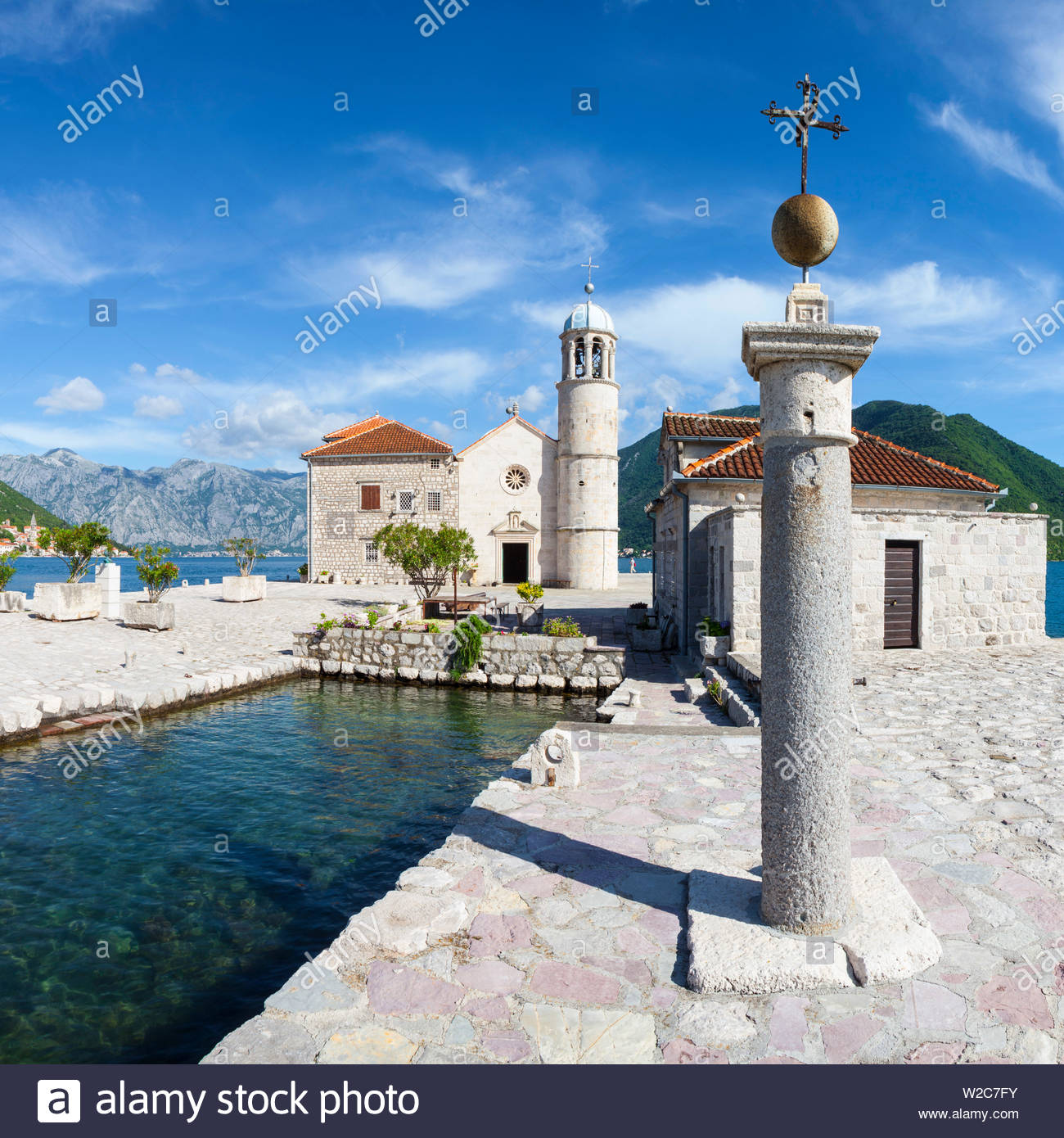Church of Our Lady of the Rocks, Our Lady of the Rocks Island, Perast, Bay of Kotorska, Montenegro - Stock Image